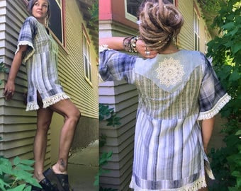 Eco Tunic Dress, size S/M,Upcycled Clothing, boho tunic,hippie dress, festival dress,folk mini dress,babydoll tunic,linen mini dress, zasra