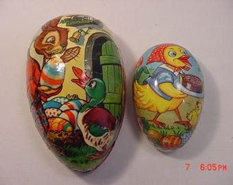 Two Vintage Germany Paper Easter Egg Candy Containers  17 - 793