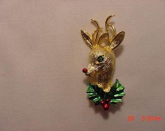Vintage Christmas Rudolph The Red Nosed Reindeer Brooch  17 - 1131