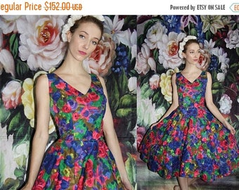 On SALE 35% Off - Vintage 1950s Floral Rainbow Watercolor Pinup Bombshell Prom Dress - 50s Dresses - WV0422