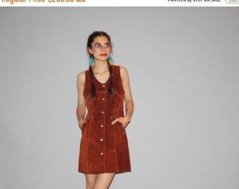 50% Off SALE - Vintage  1960s Full Suede Hippie Dress - Vintage 60s Suede Dress -   60s Hippie Dresses  - WD0626