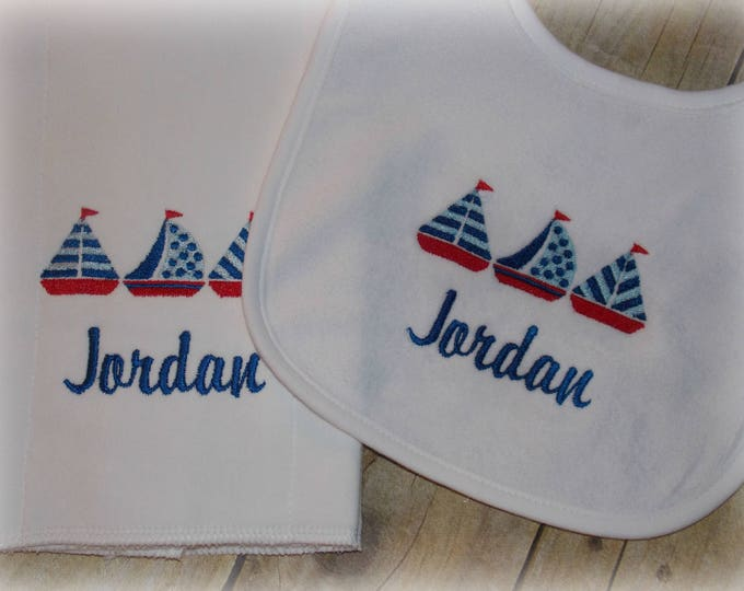 Sailboats Baby Set - Nautical bib and burp set - Embroider baby bib and burp cloth set - Boat bib and burp - Sailing Baby gift