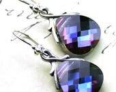 ON SALE Swarovski Briolette Crystal Earrings in Heliotrope - Purple Blue - Swarovski Crystal and Sterling Silver