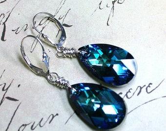 ON SALE Swarovski Crystal Teardrop Earrings in Bermuda Blue - Aqua And Sapphire Blue - Swarovski Crystal and Sterling Silver Leverbacks
