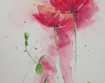 Small Watercolour Painting Red Poppies Original A5 Floral Botanical Flowers