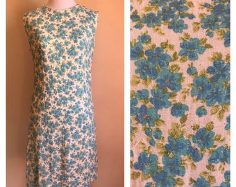 Vintage 1960's White and Blue Floral Shift Mod Dress Small S