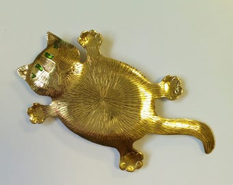 cat brooch,cat with green eyes, cat jewellery
