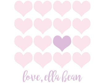 Multi Heart Lavender, Valentine's sticker, Square Stickers, Personalized Stickers, Custom Stickers, Name Stickers, holiday stickers
