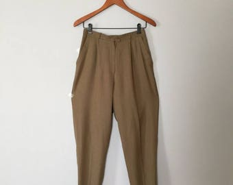 25% OFF SALE... Vntage olive drab cuffed buggy pants. high waisted linen pants