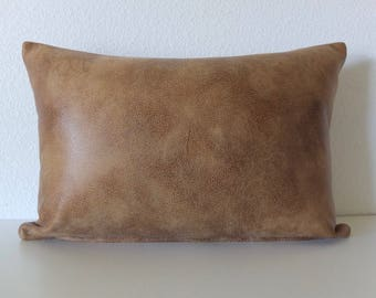Vintage Faux Blond Brown Leather Pillow Cover