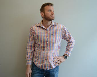 Vintage Rainbow Checkered Gingham Faconnable Button Down Shirt