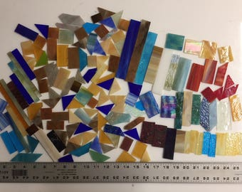 3 pounds various scrap glass for stained glass or mosaic