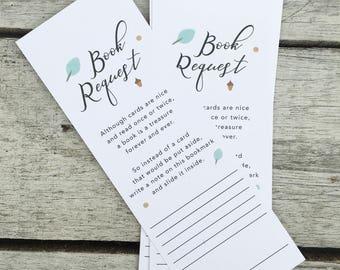 Baby Shower Bookmark, Baby Book Request, Bookmark, Baby Shower Card, Digital Download