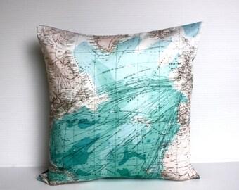 SALE SALE SALE Vintage map print / Map pillow cover/ eco friendly cushion map / Atlantic Ocean decorative pillow/ cushion cover/ pillow, 16