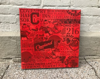 RED Cleveland Collage Painting No. 02 on Canvas 17 x 17