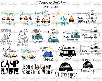 SALE!!  20 Camping SVG files * Camp Life * Campfire * S'Mores * Rather Be Camping * Happy Camper SVG * rv Camp