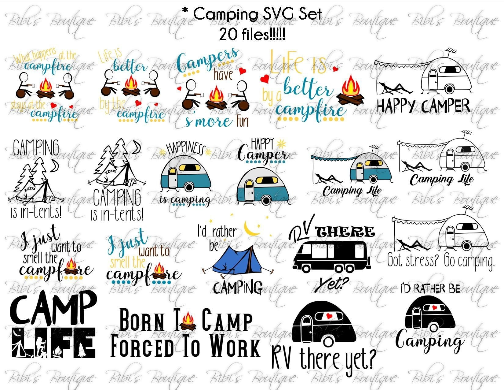 20 Camping SVG files * Camp Life * Campfire * S'Mores