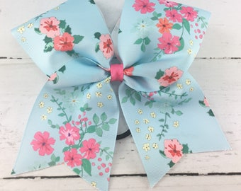 1 Cheer Bow, Girls Large Cheer Bow, Floral Print Cheer Bow, Vintage Floral Bow, Light Blue Floral