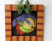 Halloween Witch and Moon, Black Spider, Tole Painted, Reclaimed Wood Frame, Framed in Orange, Halloween Decoration,Halloween Sign,Black Bat
