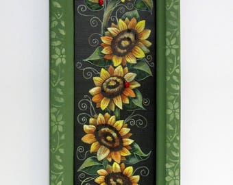 Bumble Bees and Sunflowers, Framed Art, Green Vine Framed Sunflowers, Reclaimed Wood Frame, Hand or Tole Painted,Summer Flowers, Bumble Bees