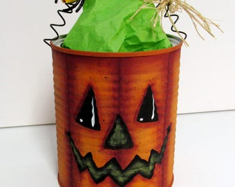 Jack-o-Lantern Painted Can, Pencil Holder, Treat Holder, Tole or Hand Painted Can, Orange Pumpkin, Yellow Spider, Recycled Can, Halloween