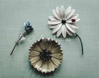Midcentury Modern Wall Art - Vintage Floral Pins - daisy, poppy, rose bud, sage mint green blue ladybug feminine still life collection