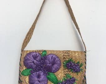 Woven Straw Shoulder Bag With Purple Flower Detail