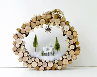 Natural Birch Peg Christmas Wreath | VIntage Inspired Glitter House | Bottlebrush Trees