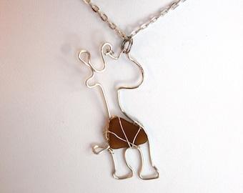Giraffe Brown Sea Glass Necklace Pendant Amber