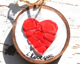 I Love You Red Heart Sea Glass Love Ornament Wall Hanging
