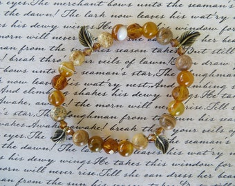 Stretch Autumn Tone Jasper Agate And Crystal With Leaf Charm Bracelet