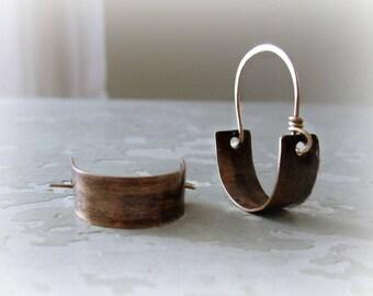 Small Brass Hoops, Brass Hoop Earrings, Metalwork Earrings, Brass Jewelry, Little Hoop Earrings, Brushed Brass Earrings, Aged Brass Hoops