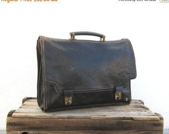 20% Off Sale Italian Worn In Black Leather Satchel Briefcase