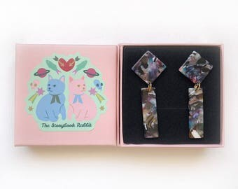 Marbled Stud Dangle Earrings - Geometric Dangles in Confetti