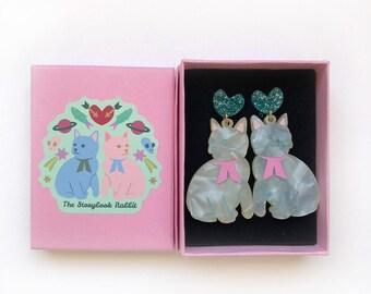 Large Size Glittery Kitty Dangle Stud Earrings - Sage Pearl