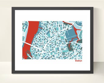Brooklyn Map - original illustration print