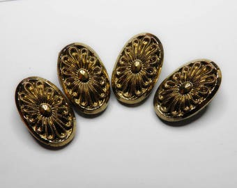 Black Glass Gold Luster Buttons