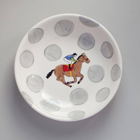 Derby Party Bowl, Derby pottery, KY derby dish, jockey silk bowl, derby party bowl