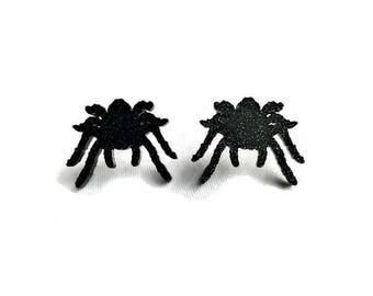 Black Glitter Tarantula Earrings - Acrylic Spiders - Spooky, Creepy, Halloween - Nickel free earrings - Sparkly, Rockabilly, Goth