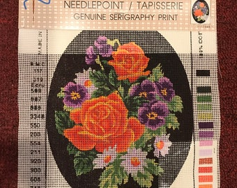 "Needlepoint / Tapisserie, Genuine Serigraphy Print, Canvas Only 7 1/4 x 10"", Printed by Grafitec Ltd"