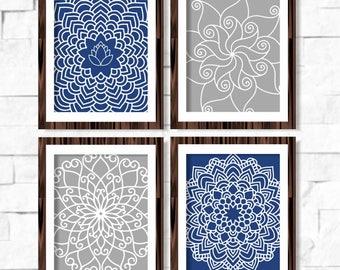Geometric Mandala Floral Printable Wall Art Set of 4 -8x10- Navy Dark Blue Grey Gray Instant Download Digital Print Livingroom Home Decor