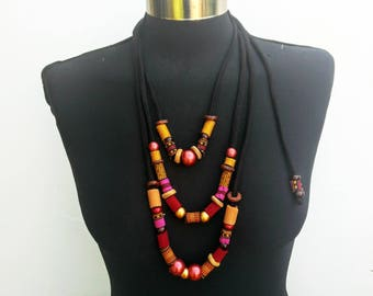 Ethnic women summer new collection long textile necklace-soft fiber jewelry with recycle fabric/wood/acrilic beads-black-rose-yellow pattern