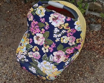 Baby Car Seat Canopy - Stretchy Car Seat Cover - Nursing Poncho - Mustard Floral Baby Cover - Baby Shower Gift - Multi Purpose Baby Cover