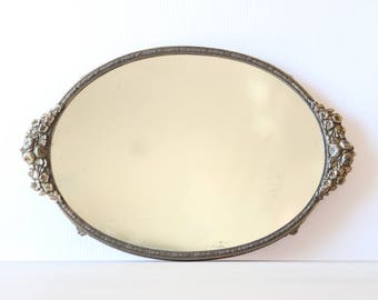 Vintage Peony Wildflower Oval Vanity Mirror Tray in Golden Brass - Vintage Home Decor Chic
