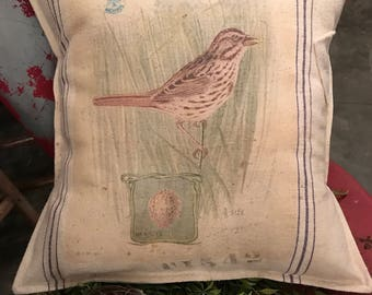 Grain Sack Pillow Cover   Song Sparrow   By Gathered Comforts