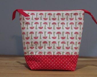 Zipper Bag, Red Mushrooms, Red Polka Dot Lining, Zipper Pouch, Wide Open Pouch