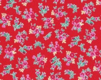 Small Floral in red from the Flower Sugar Berry Fall 2017 fabric collection by Lecien of Japan - 31515L-30