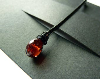 Garnet Bobby Pin - 8mm Red Gemstone Bobby Pin - Capricorn - January