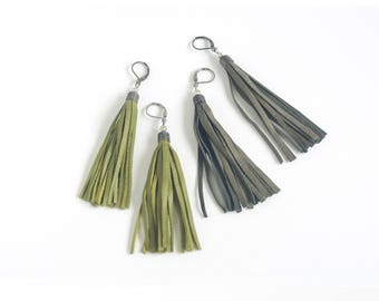 Leather tassel earrings in moss green and vintage bronze