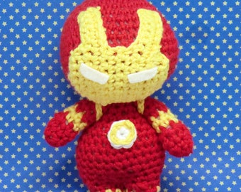 Ironman amigurumi style PDF crochet pattern inspired by the Avengers